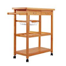 homcom hardwood kitchen trolley island butcher wooden wine rack