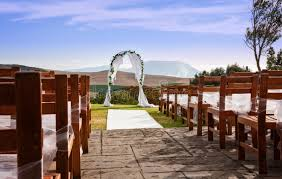 wedding arch lace a wedding arch against a outdoor landscape stock photo image
