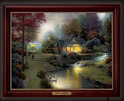 thomas kinkade lighted pictures thomas kinkade stillwater cottage lighted canvas print