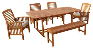 Outdoor Dining Room Furniture 6 Piece Acacia Patio Dining Set With Cushions Craftsman