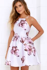 print dress lovely floral print dress backless dress skater dress 59 00