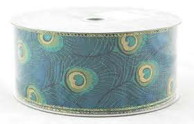 peacock ribbon peacock feather wide wired ribbon archway variety