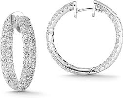 gold diamond hoop earrings 14k white gold 5 07ct pave diamond hoop earrings 150 02404