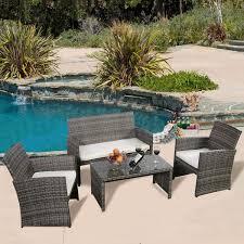 Wicker Patio Furniture Set 4 Pc Rattan Patio Furniture Set Garden Lawn Sofa