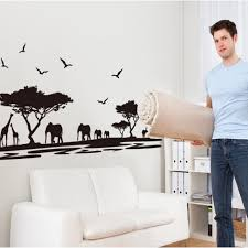 safari wall sticker giraffe elephant and deers