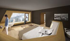interior umber artistic hotel room with wheat wood accent wall