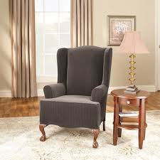 Sure Fit Club Chair Slipcovers Surefit Stretch Pinstripe 2 Piece Wing Chair Slipcover Black