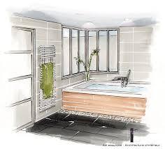 dessin en perspective d une chambre perspective de la salle de bain avec verrière donnant sur la chambre