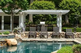 Screened In Pergola by Traditional Swimming Pool With Screened Porch U0026 Exterior Stone