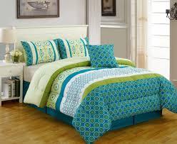 blue and green various pattern bedspread with sky blue tailored