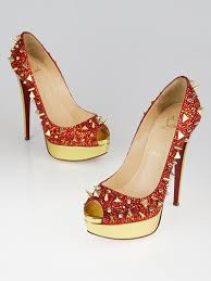 christian louboutin red gold crystal spikes very mix pot pourri
