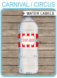Decorate Water Bottle Editable Circus Water Bottle Labels Carnival Party
