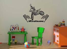 stickers garcon chambre personnalisés fraîches nom motocross vinyle wall sticker garçon