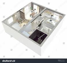plan view apartmentground floor clear 3d stock illustration