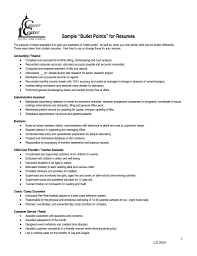 resume bullet points exles bullet points resume pertamini co