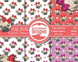 commercial wrapping paper pug wrapping paper etsy