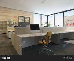 3d rendering of modern office interior with multiple open plan