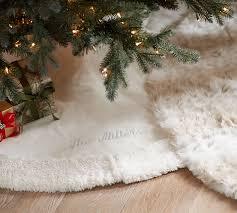 white tree skirt faux fur tree skirt pottery barn