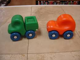 orange cars little tikes vintage first wheels chunky car set green truck