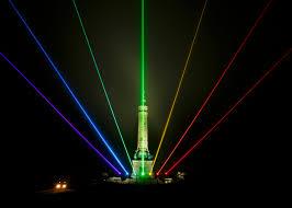 Lazer Light Night Rainbow Global Rainbow New Haven Laser Light Sculpture