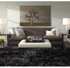 Living Room With No Coffee Table by Cody Leather No Button Large Square Ottoman