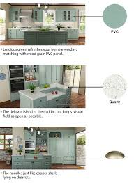 made in china kitchen cabinets china oppein modern green galley luxury pvc kitchen cabinet op15