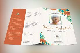 Free Funeral Programs Autumn Floral Funeral Program Template Design Bundles