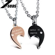 her necklace images Romantic his and her promise necklace set stainless steel cubic jpg