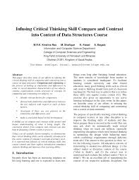 infusing critical thinking skill compare and contrast into content