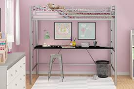 Metal Frame Loft Bed With Desk Emily Premium Twin Loft Bunk Bed With Desk Tiny House Style