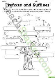 prefixes and suffixes tree poster and worksheet teaching resource