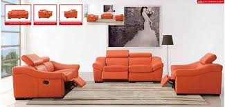 Modern Leather Living Room Furniture Sets 8021 Orange Italian Modern Leather Sofa Reclining Set