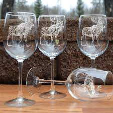 wine sets napa valley moose 16 oz etched wine glass sets cabin place