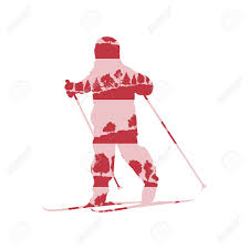 children cross country skiing concept of little boy made of forest