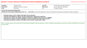 Resume Handling Aircraft Cargo Handling Supervisor Job Title Docs