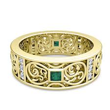 celtic gold rings images Princess cut celtic emerald wedding band ring for men in 14k gold jpg