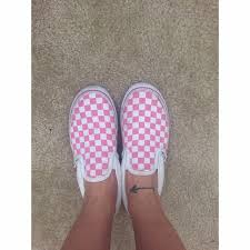 light pink checkered vans 67 off vans shoes baby pink and white checkered slip on poshmark