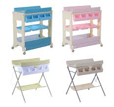 Change Table Bath Baby Infant Changing Table Unit Rolling Bath Station Storage