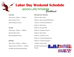fitness labor day schedule fitness