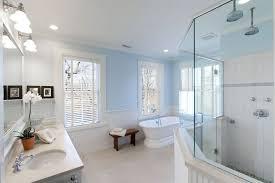 Horizontal Beadboard Bathroom Cottage Full Bathroom With Rain Shower Head U0026 Freestanding Bathtub