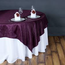 eggplant colored table linens 6 pcs 90x90 taffeta crinkle overlays wedding party table linens