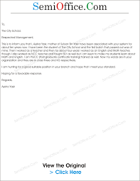 Covering Letter Format For Teaching Job Application by Application For Teacher Job Free Samples