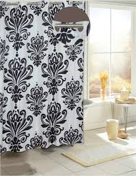 Hookless Shower Curtains Hill Black White Fabric Hookless Shower Curtain