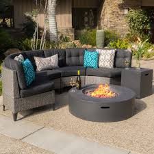 navagio outdoor 6 piece wicker half round sofa set with fire table