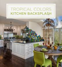Kitchens Backsplash Tropical Colors In A Kitchen Backsplash Handmade Ceramic Tile