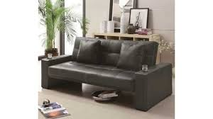 coaster sofa sleeper with cup holders in black youtube