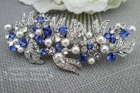 rhinestone hair pearl and rhinestone hair wedding blue hair comb bridal hair