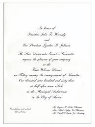 Dinner Invitation Card Lot Detail Invitation To Jfk U0027s U0027 U0027texas Welcome Dinner U0027 U0027 The