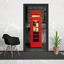 London Wall Murals British London Phone Box Door Wallpaper 3 Piece Door Mural 95cm X