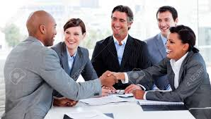 business greeting multi ethnic business greeting each other stock photo